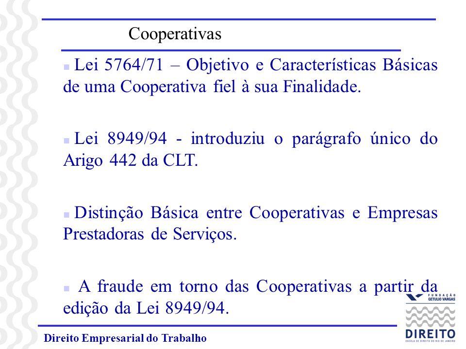Lei 8949/94 - introduziu o parágrafo único do Arigo 442 da CLT.