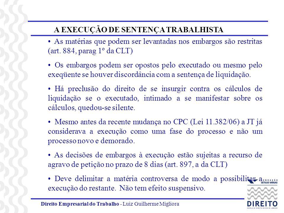 A EXECUÇÃO DE SENTENÇA TRABALHISTA