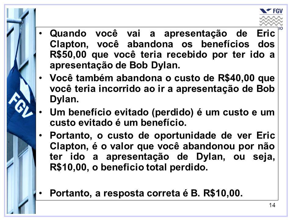 Quando você vai a apresentação de Eric Clapton, você abandona os benefícios dos R$50,00 que você teria recebido por ter ido a apresentação de Bob Dylan.