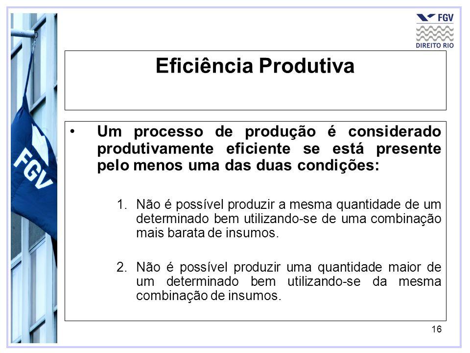 Eficiência Produtiva Um processo de produção é considerado produtivamente eficiente se está presente pelo menos uma das duas condições:
