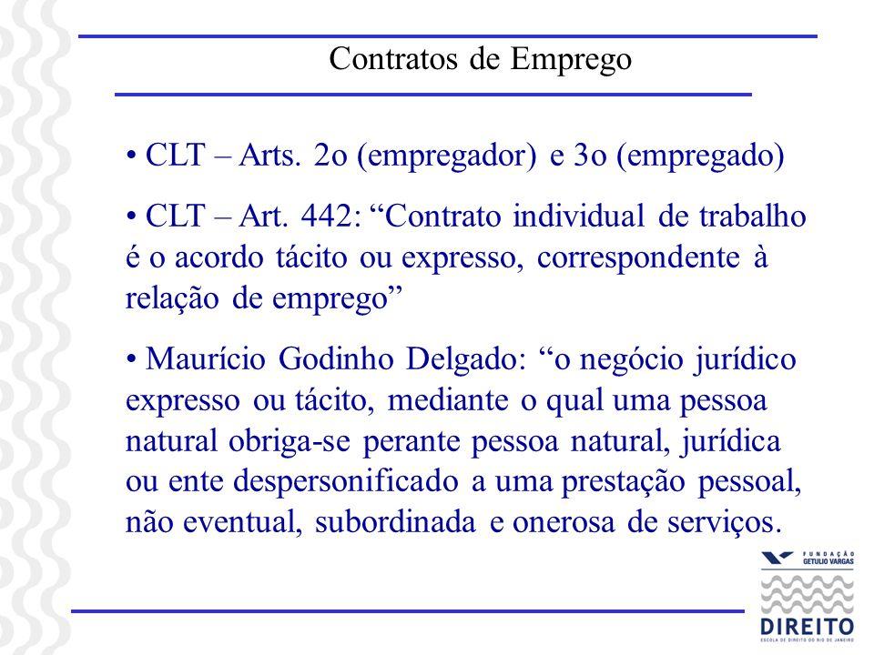 Contratos de Emprego CLT – Arts. 2o (empregador) e 3o (empregado)