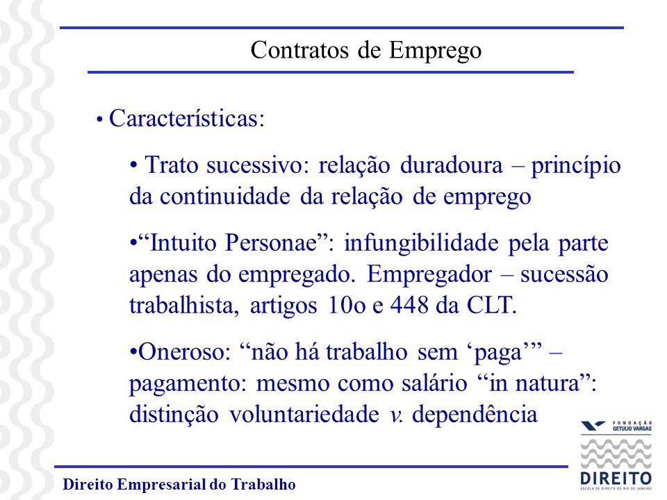 Contratos de Emprego Características: Trato sucessivo: relação duradoura – princípio da continuidade da relação de emprego.