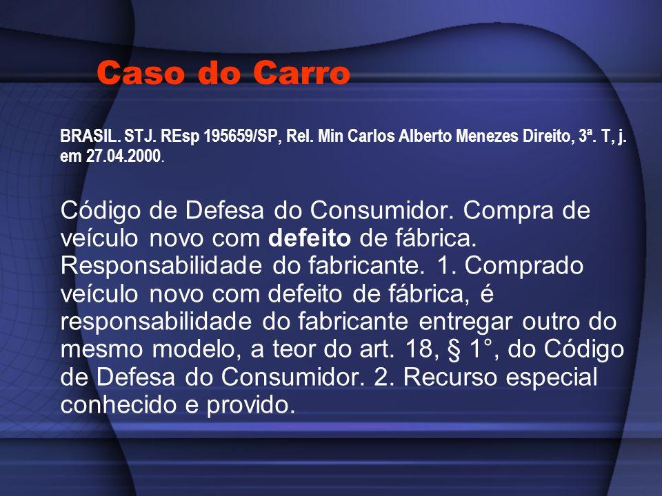 Caso do Carro BRASIL. STJ. REsp 195659/SP, Rel. Min Carlos Alberto Menezes Direito, 3ª. T, j. em 27.04.2000.