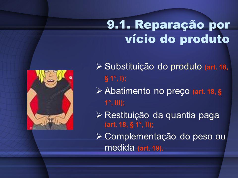 9.1. Reparação por vício do produto