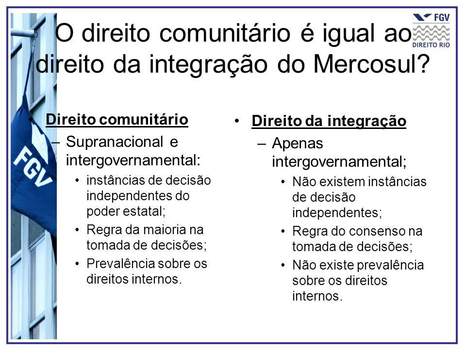 O direito comunitário é igual ao direito da integração do Mercosul
