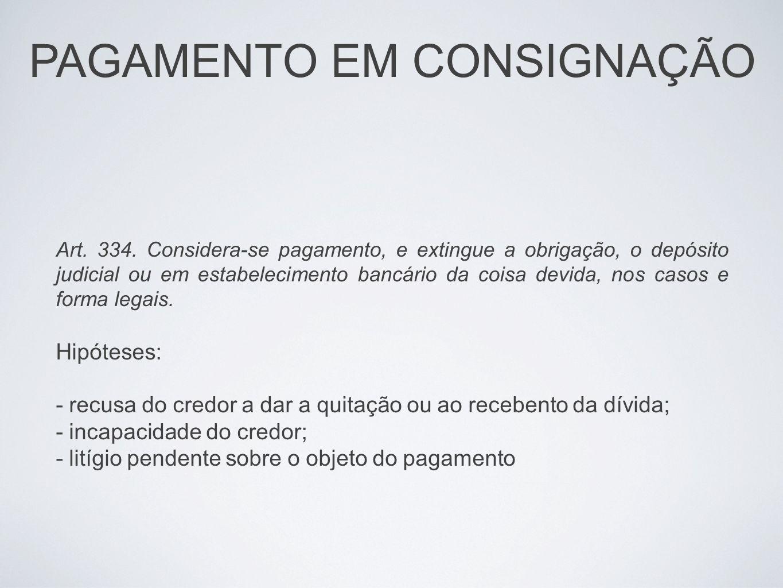 PAGAMENTO EM CONSIGNAÇÃO