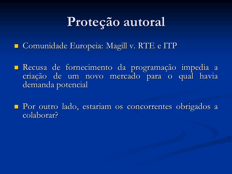 Proteção autoral Comunidade Europeia: Magill v. RTE e ITP