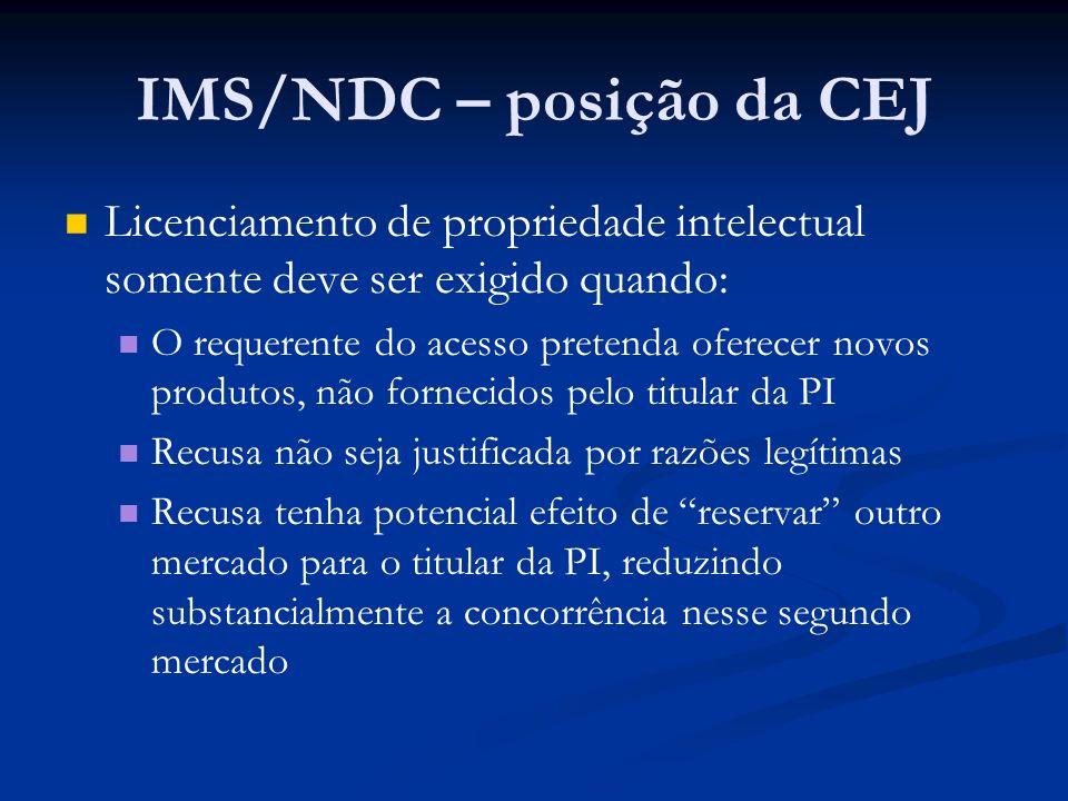 IMS/NDC – posição da CEJ
