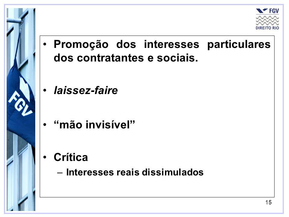 Promoção dos interesses particulares dos contratantes e sociais.
