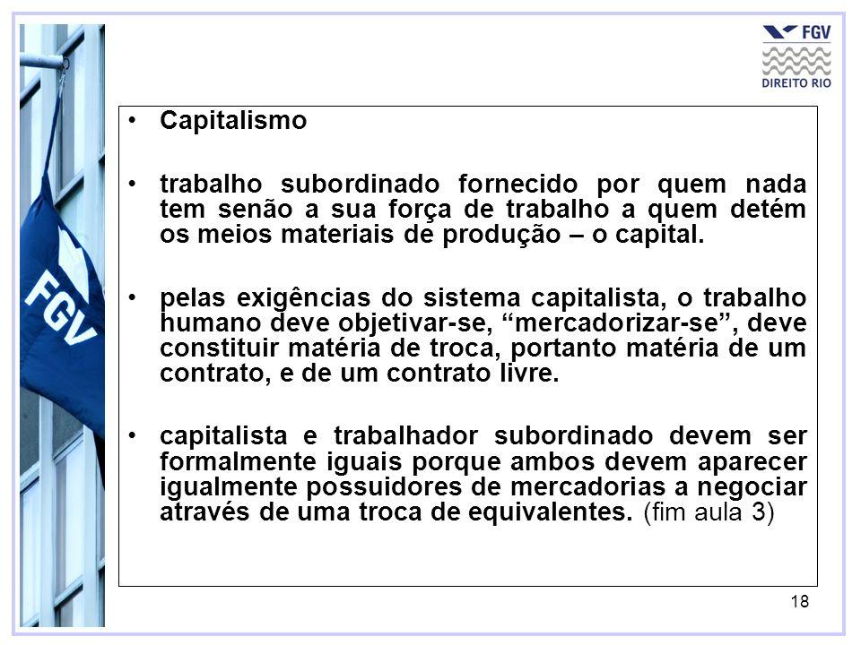 Capitalismo trabalho subordinado fornecido por quem nada tem senão a sua força de trabalho a quem detém os meios materiais de produção – o capital.