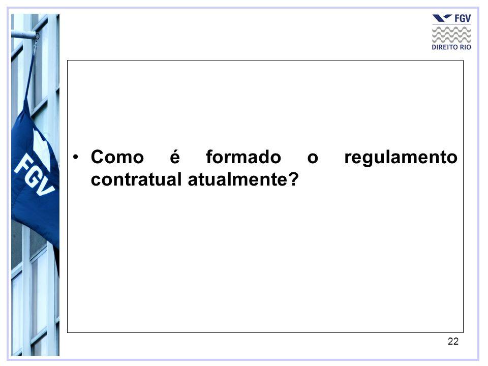 Como é formado o regulamento contratual atualmente