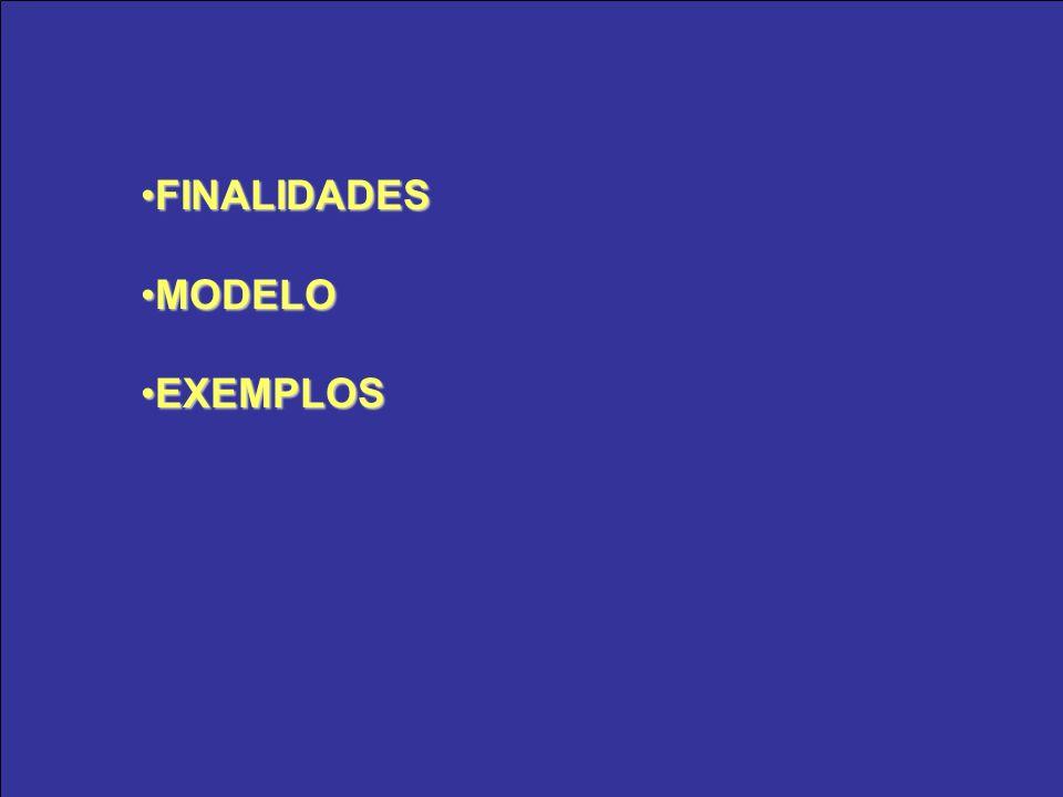FINALIDADES MODELO EXEMPLOS