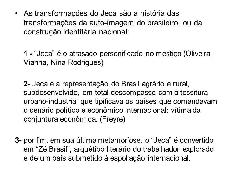 As transformações do Jeca são a história das transformações da auto-imagem do brasileiro, ou da construção identitária nacional: