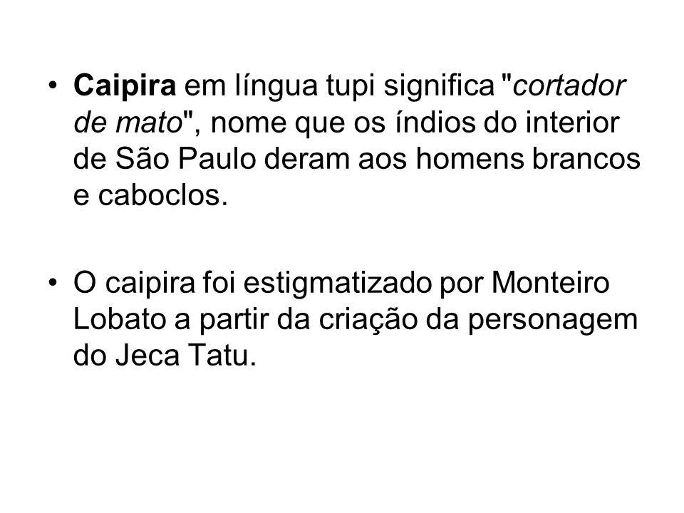 Caipira em língua tupi significa cortador de mato , nome que os índios do interior de São Paulo deram aos homens brancos e caboclos.