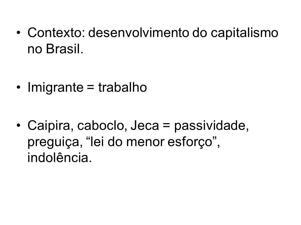 Contexto: desenvolvimento do capitalismo no Brasil.