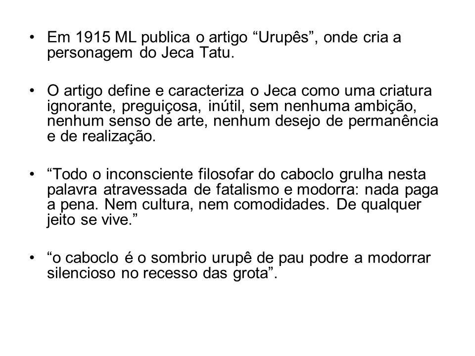Em 1915 ML publica o artigo Urupês , onde cria a personagem do Jeca Tatu.