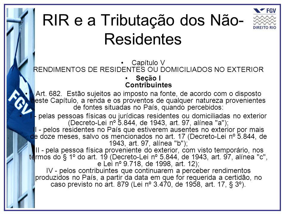 RIR e a Tributação dos Não-Residentes