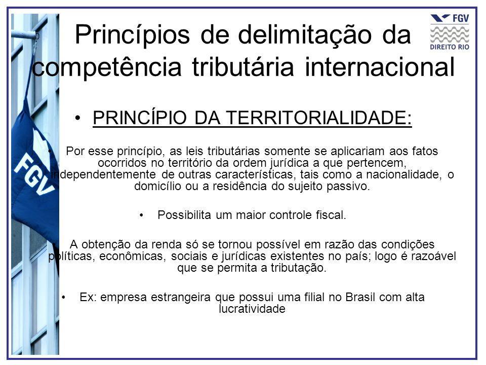 Princípios de delimitação da competência tributária internacional