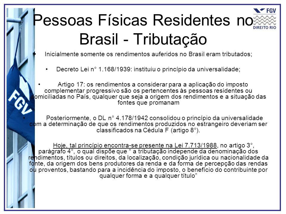 Pessoas Físicas Residentes no Brasil - Tributação