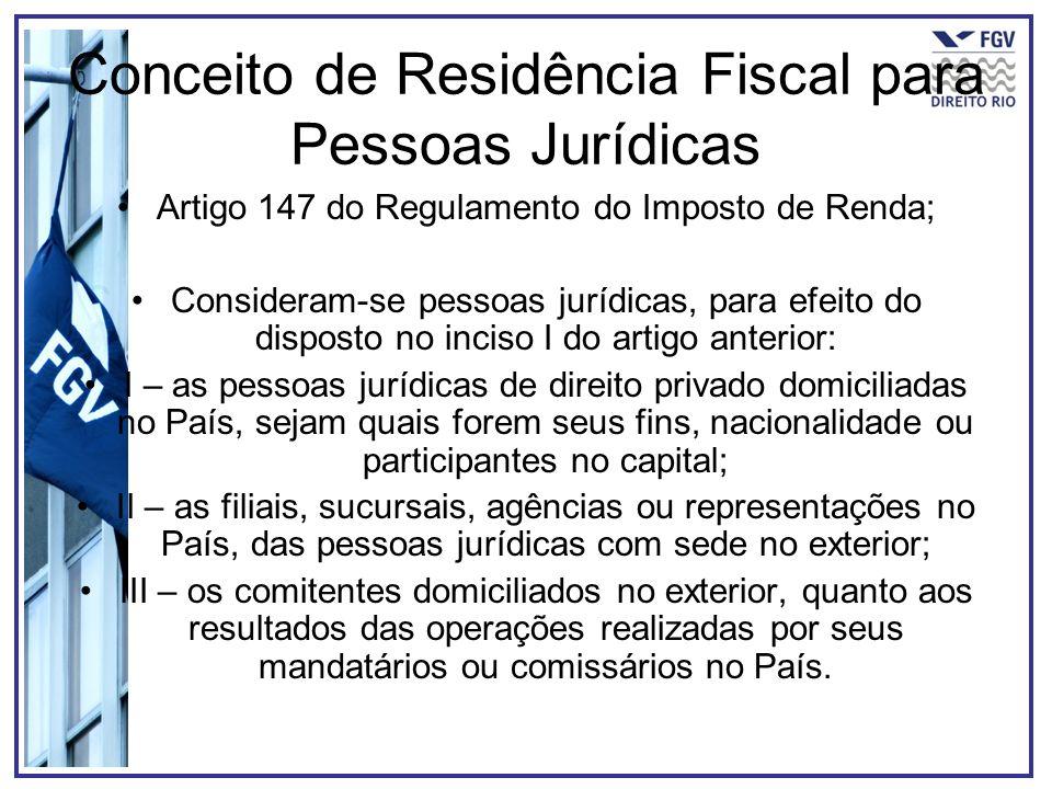Conceito de Residência Fiscal para Pessoas Jurídicas