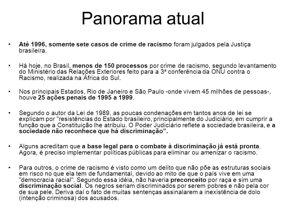 Panorama atual Até 1996, somente sete casos de crime de racismo foram julgados pela Justiça brasileira.