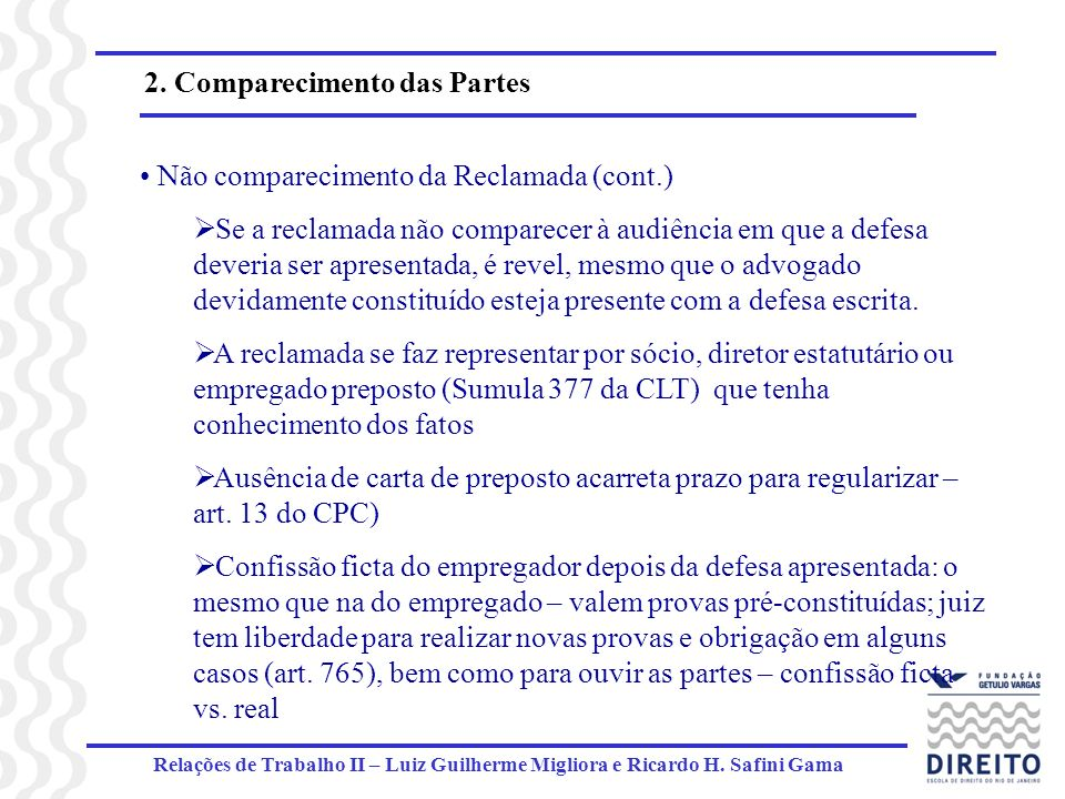 2. Comparecimento das Partes