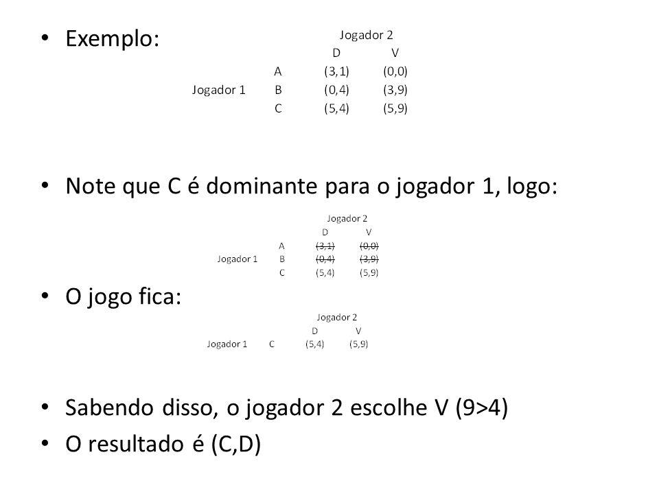 Exemplo: Note que C é dominante para o jogador 1, logo: O jogo fica: Sabendo disso, o jogador 2 escolhe V (9>4)