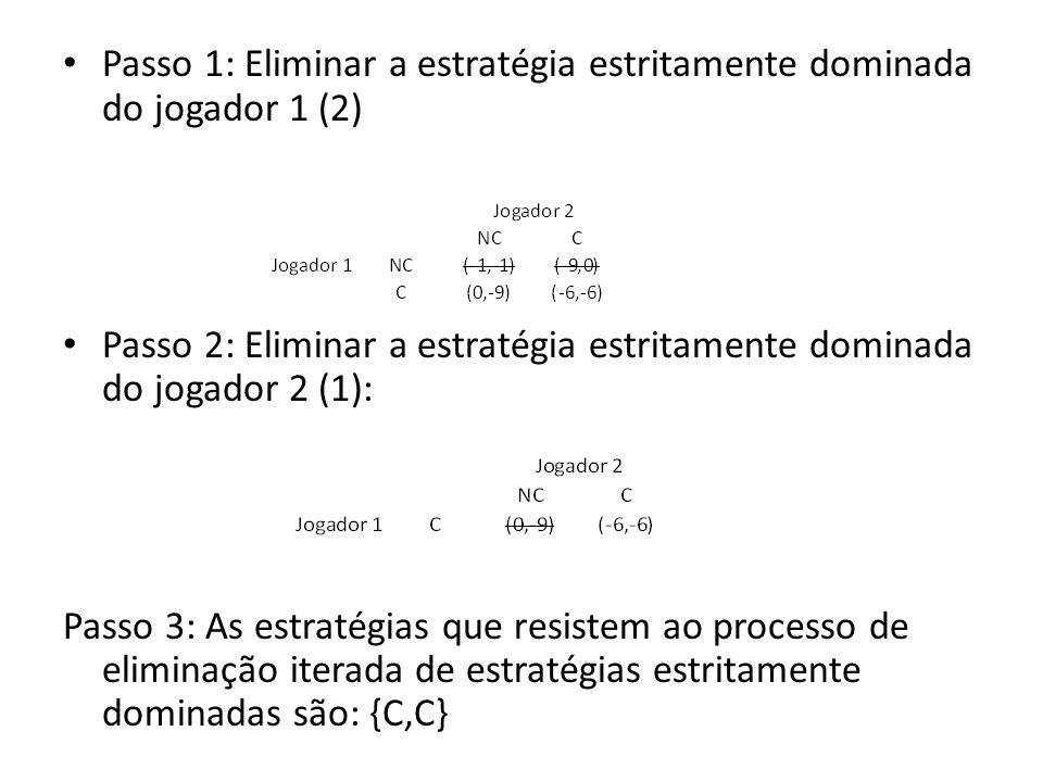 Passo 1: Eliminar a estratégia estritamente dominada do jogador 1 (2)