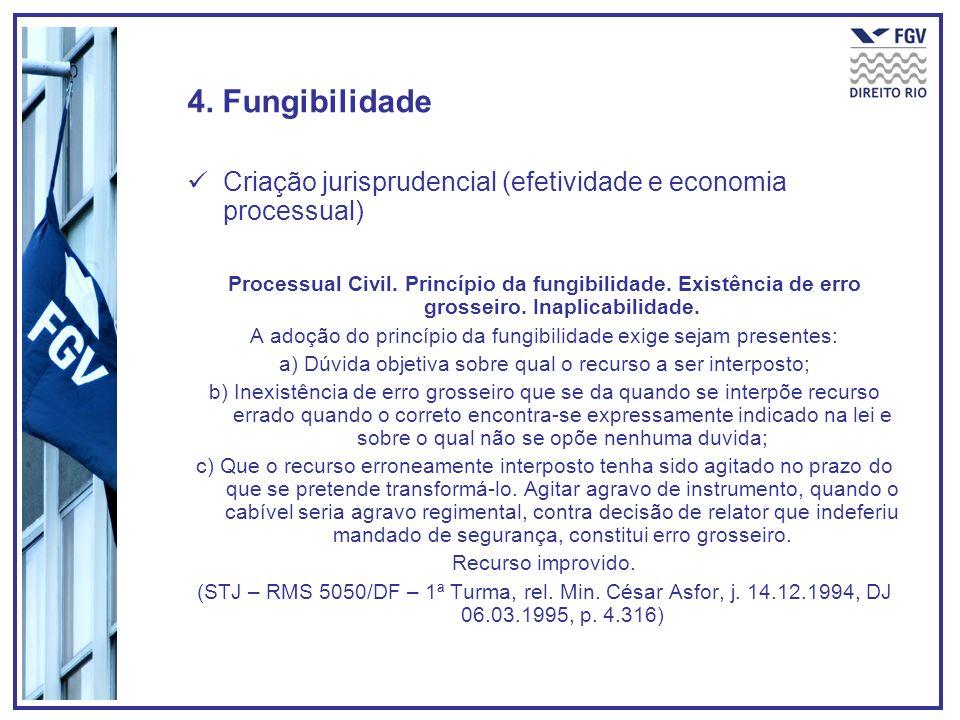 4. FungibilidadeCriação jurisprudencial (efetividade e economia processual)