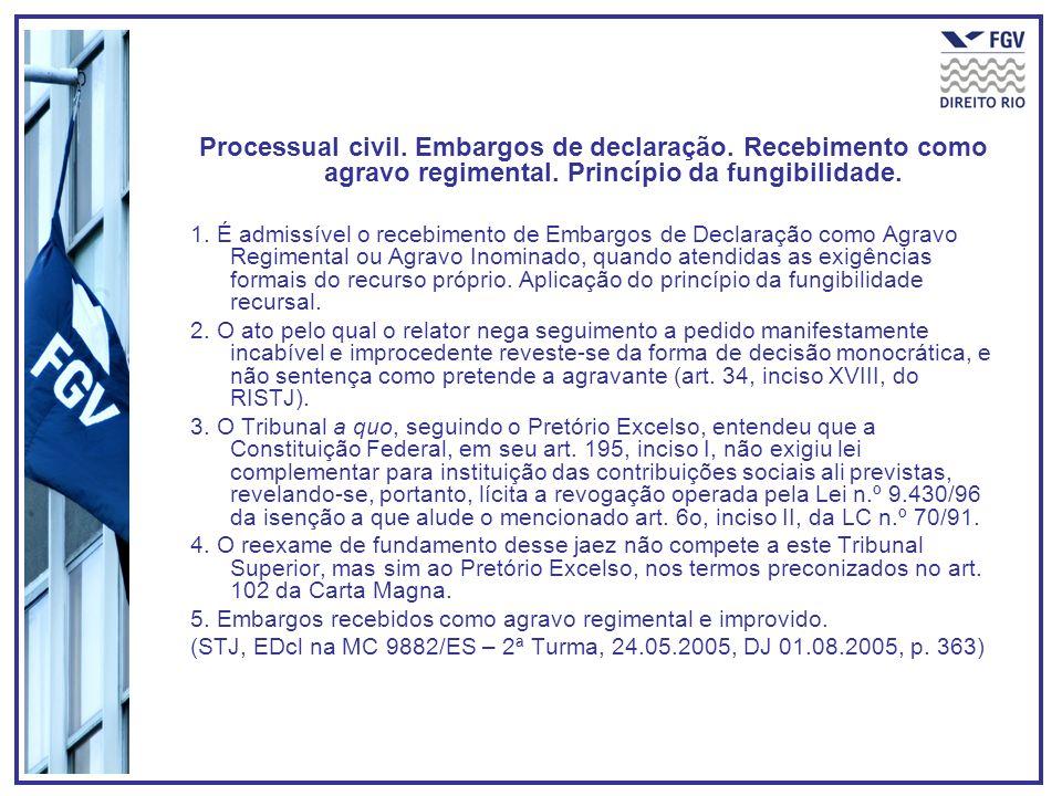 Processual civil. Embargos de declaração