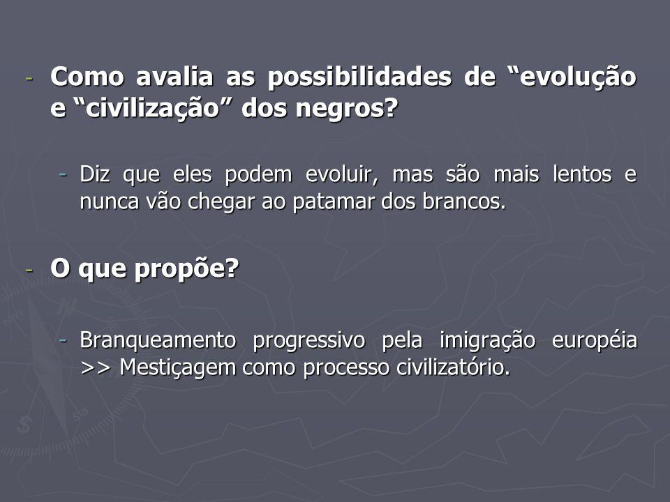 Como avalia as possibilidades de evolução e civilização dos negros