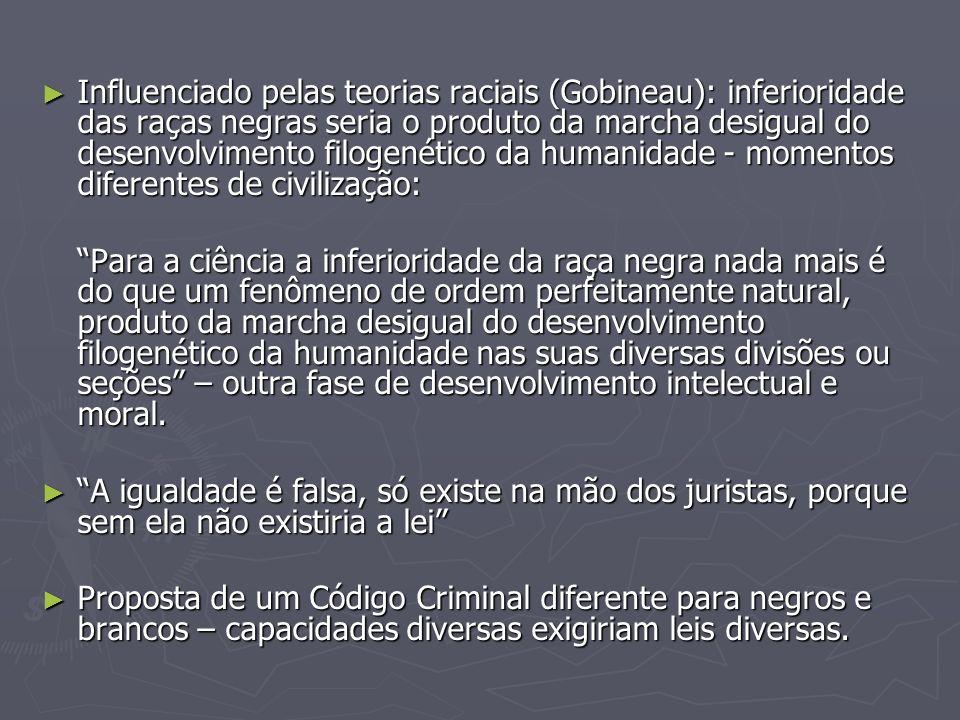 Influenciado pelas teorias raciais (Gobineau): inferioridade das raças negras seria o produto da marcha desigual do desenvolvimento filogenético da humanidade - momentos diferentes de civilização: