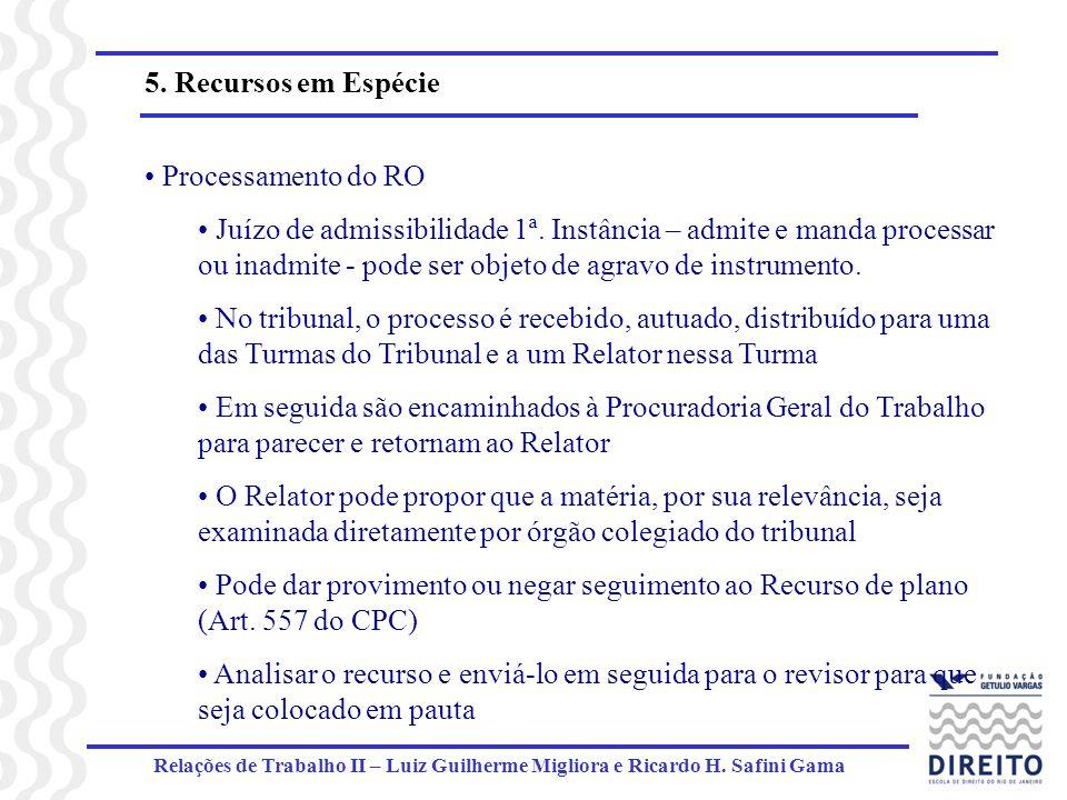 5. Recursos em Espécie Processamento do RO