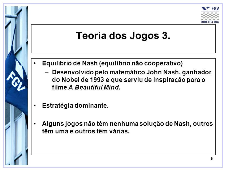 Teoria dos Jogos 3. Equilíbrio de Nash (equilíbrio não cooperativo)