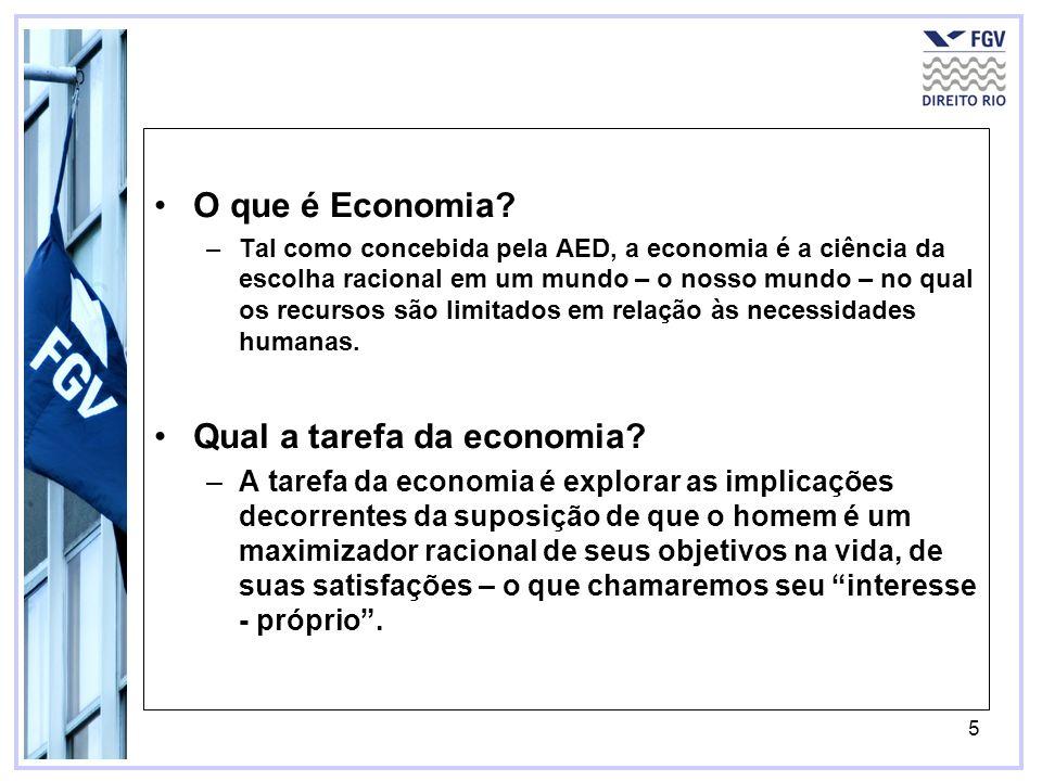 Qual a tarefa da economia