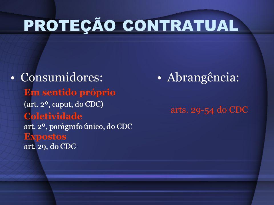 PROTEÇÃO CONTRATUAL Consumidores: Abrangência: Em sentido próprio