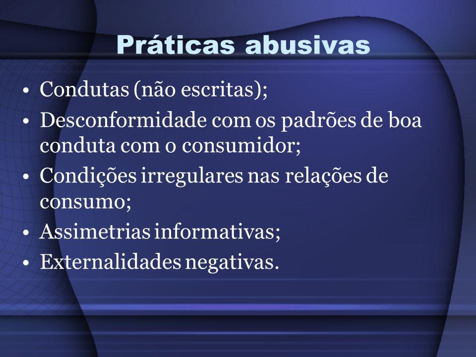 Práticas abusivas Condutas (não escritas);