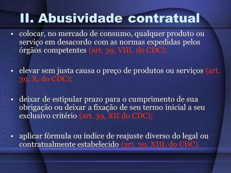 II. Abusividade contratual