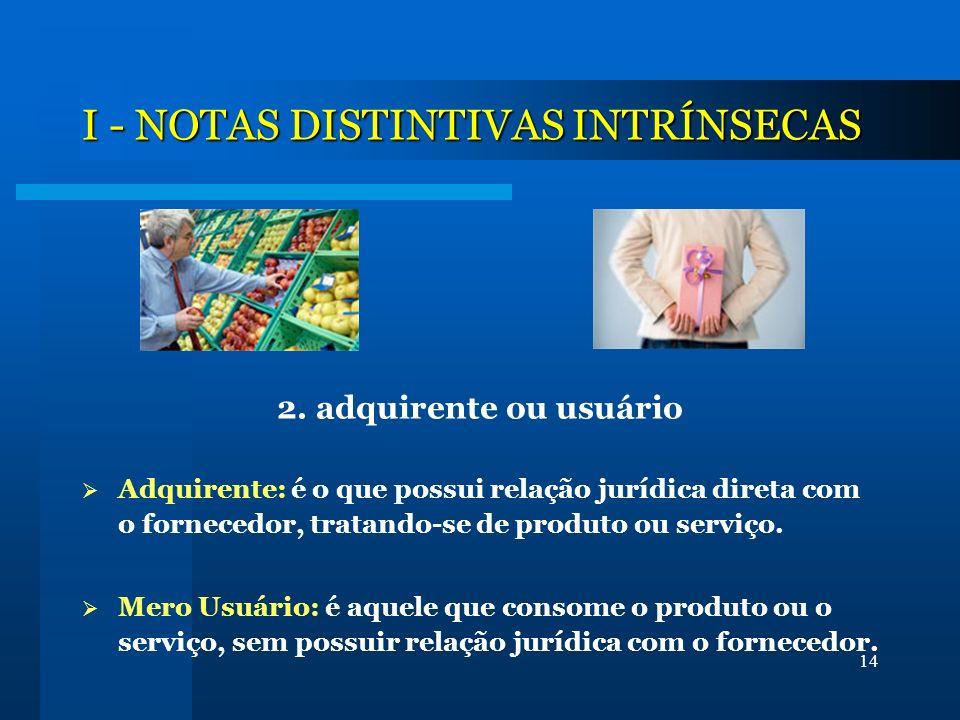 I - NOTAS DISTINTIVAS INTRÍNSECAS