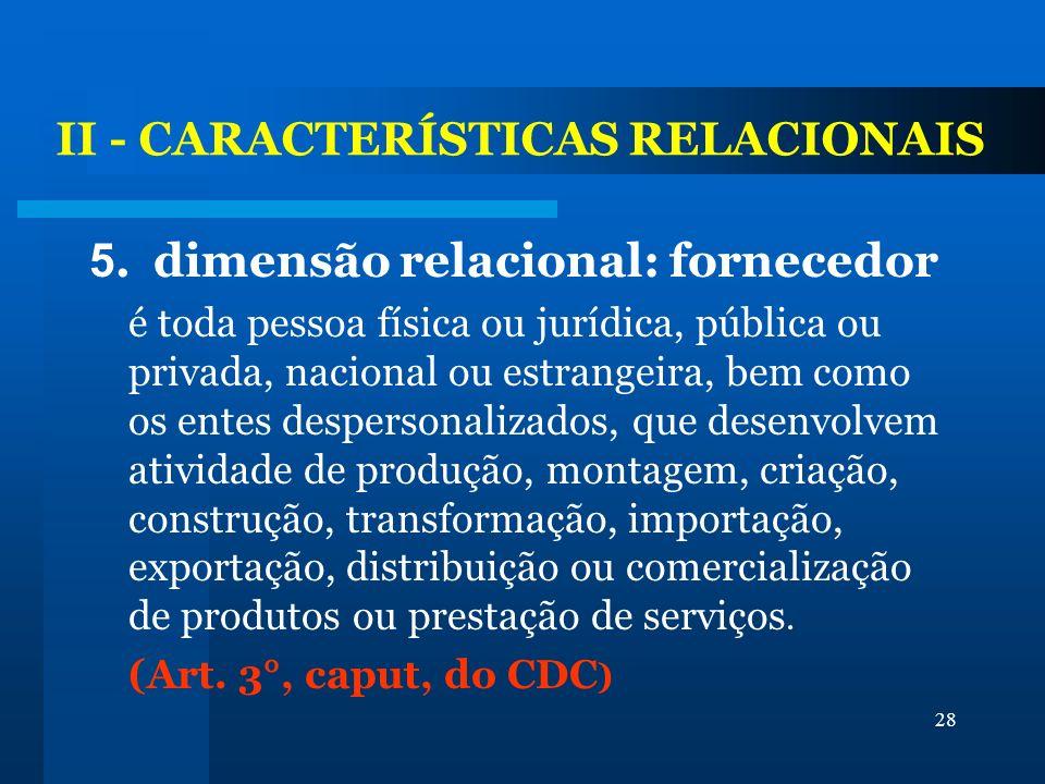 II - CARACTERÍSTICAS RELACIONAIS
