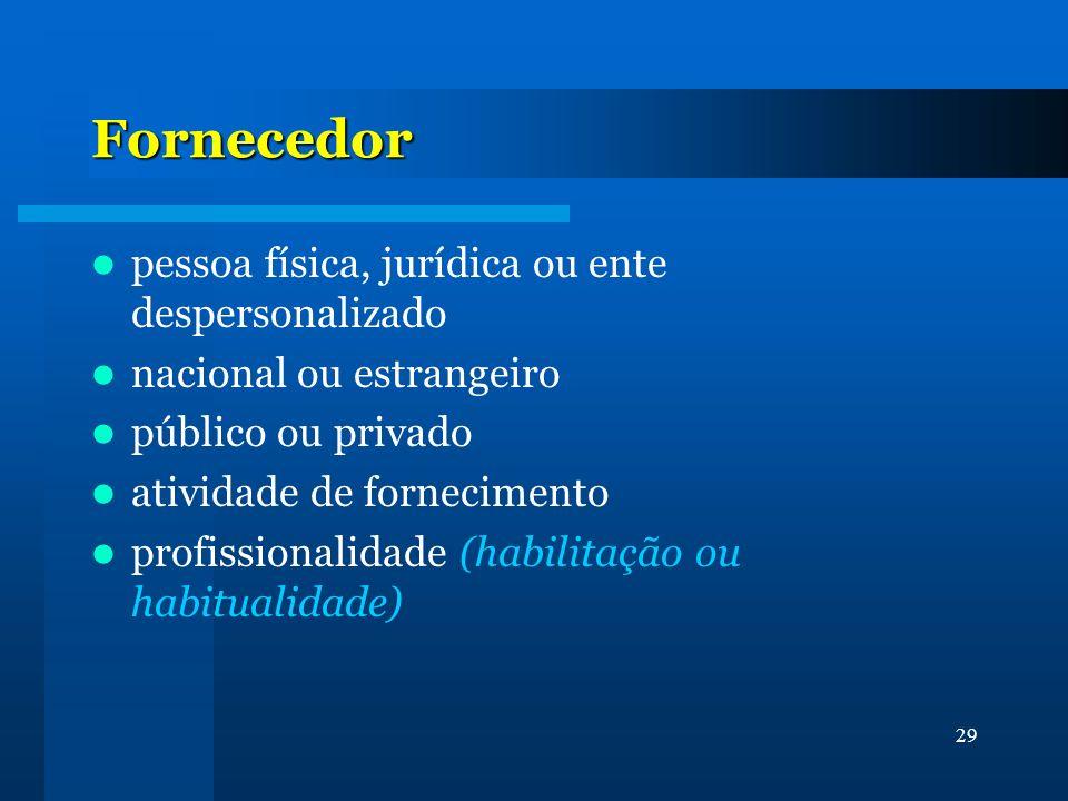 Fornecedor pessoa física, jurídica ou ente despersonalizado