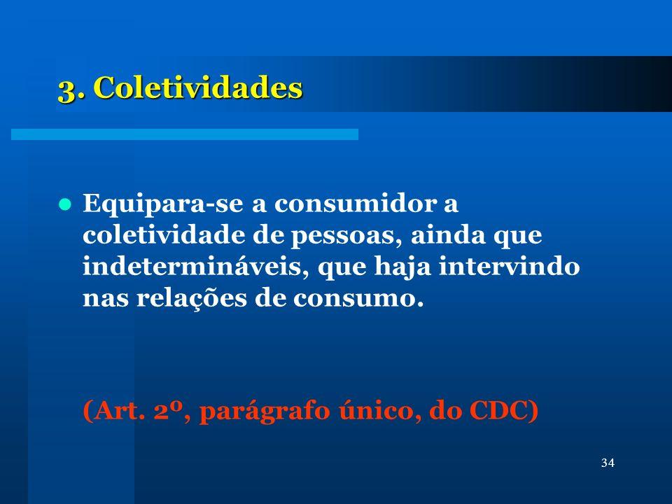 3. Coletividades Equipara-se a consumidor a coletividade de pessoas, ainda que indetermináveis, que haja intervindo nas relações de consumo.