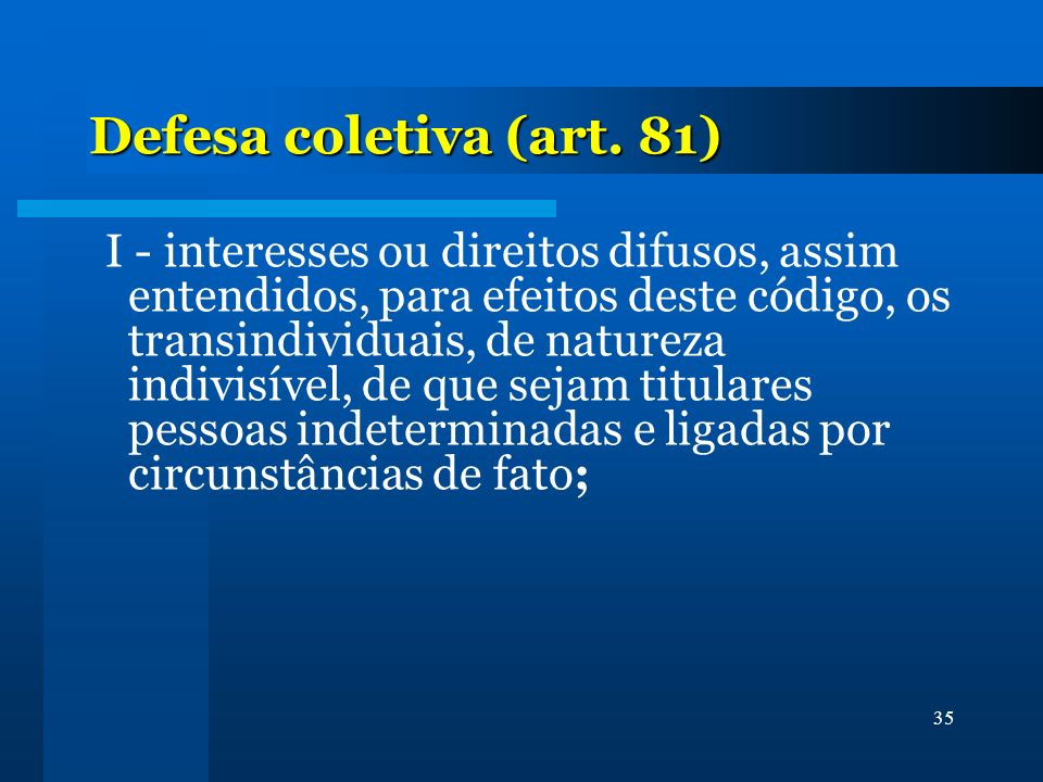 Defesa coletiva (art. 81)