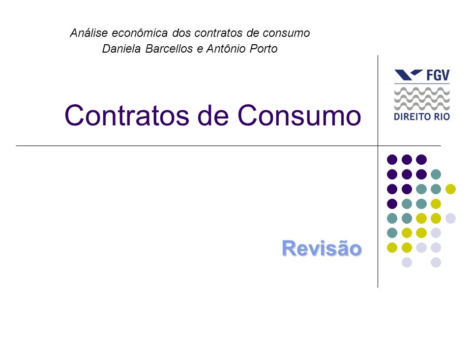 Contratos de Consumo Revisão