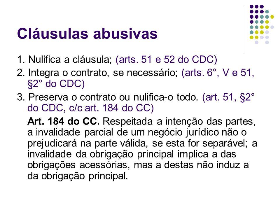 Cláusulas abusivas 1. Nulifica a cláusula; (arts. 51 e 52 do CDC)
