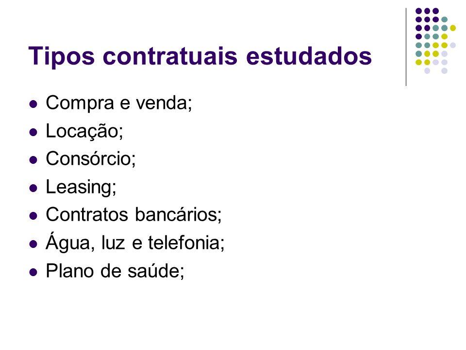 Tipos contratuais estudados