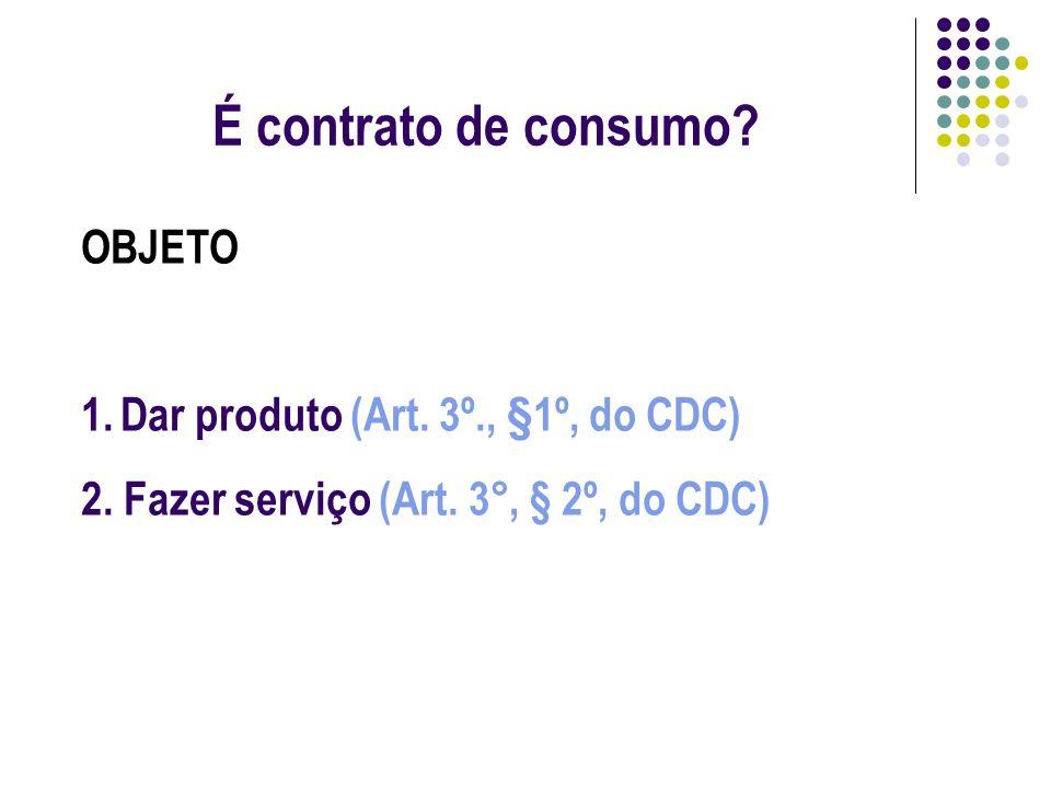 É contrato de consumo OBJETO Dar produto (Art. 3º., §1º, do CDC)