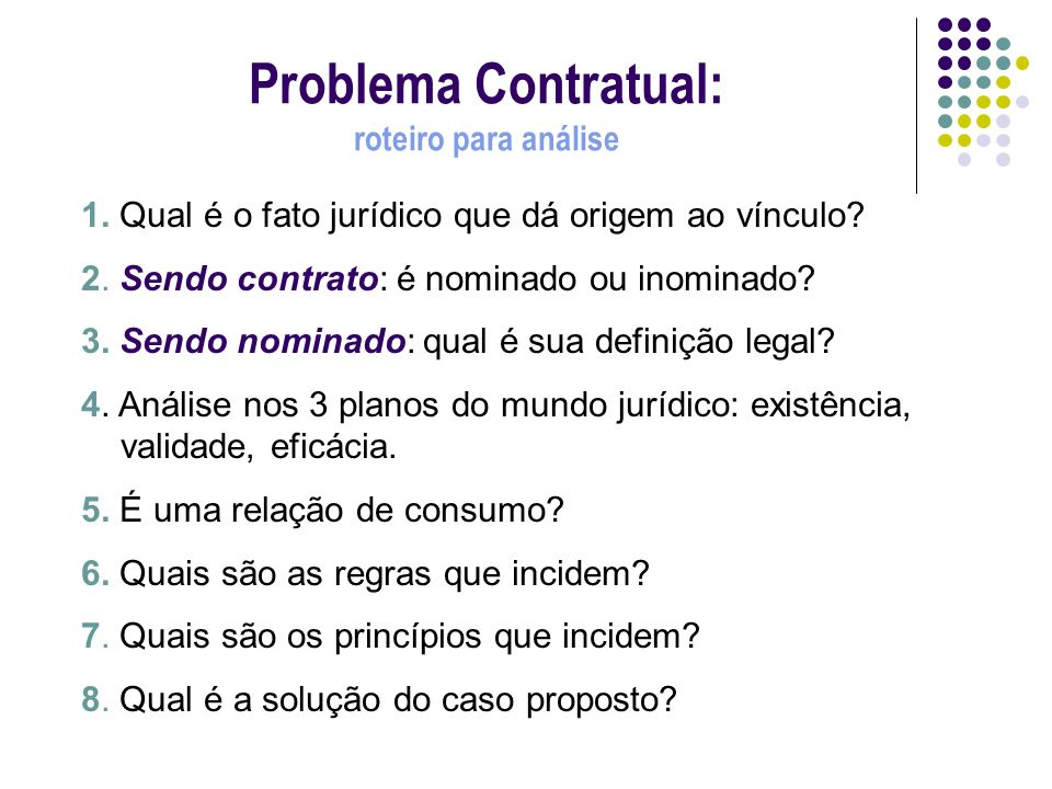 Problema Contratual: roteiro para análise