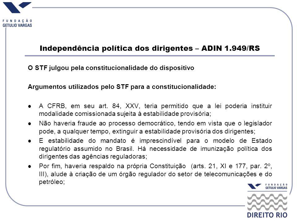 Independência política dos dirigentes – ADIN 1.949/RS