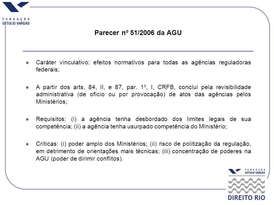 Parecer nº 51/2006 da AGU Caráter vinculativo: efeitos normativos para todas as agências reguladoras federais;